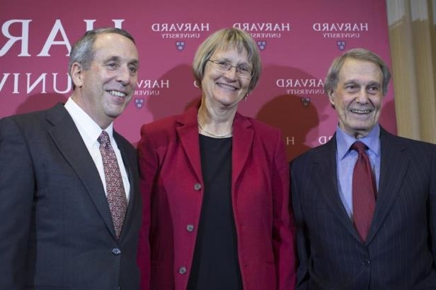 Lawrence S. Bacow (right) was joined by Harvard University president Drew Faust (center) and former university president Neil Leon Rudenstine at Sunday's announcement.