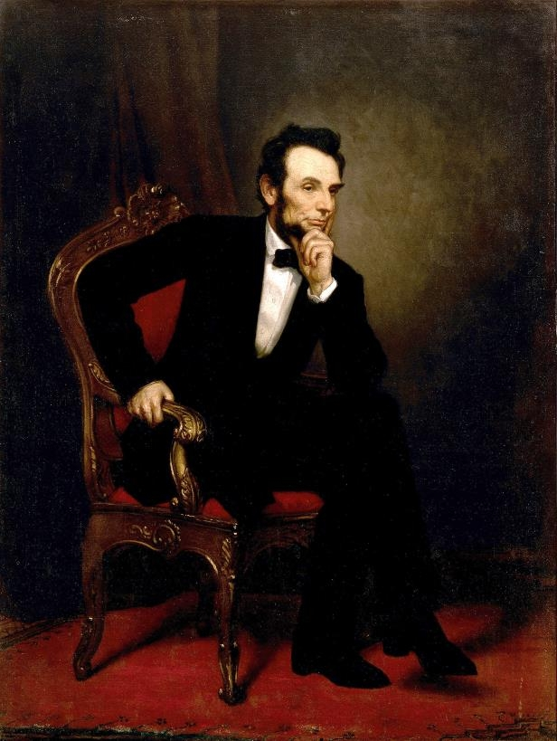 Slide 17 of 44: Portrait of Abraham Lincoln by George P.A. Healy in 1869, oil on canvas, 187.3 x 141.3 cm (73.74 x 55.63 in). Located in the State Dining Room, White House, Washington.