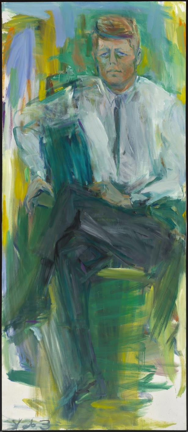 Slide 35 of 44: John F. Kennedy by Elaine de Kooning.