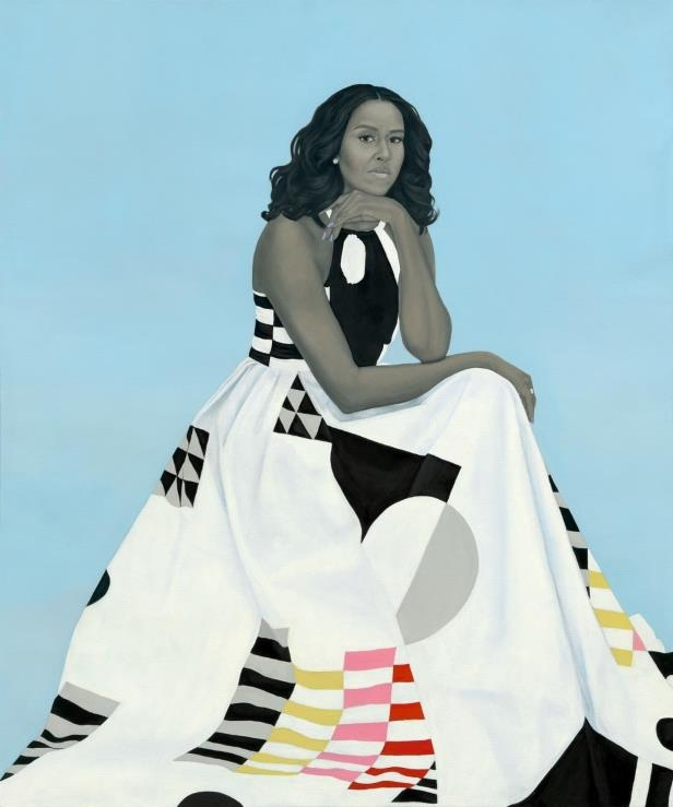 Michelle LaVaughn Robinson Obama by Amy Sherald, oil on linen, 2018. National Portrait Gallery, Smithsonian Institution.