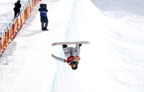 Slide 25 of 121: Snowboarding - Pyeongchang 2018 Winter Olympics - Women's Halfpipe Qualification - Phoenix Snow Park - Pyeongchang, South Korea - February 12, 2018 - Chloe Kim of the U.S. competes.