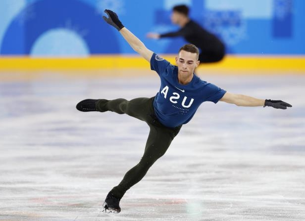 Slide 97 of 121: Figure Skating – Pyeongchang 2018 Winter Olympics – Training – Gangneung Ice Arena - Gangneung, South Korea – February 8, 2018 - Adam Rippon of the U.S. trains.