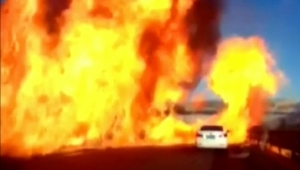 Truck erupts in giant fireball on expressway