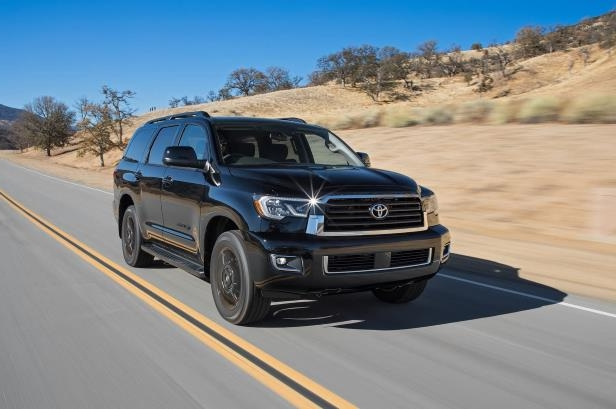 Slide 8 of 184: 2018-Toyota-Sequoia-TRD-Sport-4WD-front-three-quarter-in-motion-1.jpg