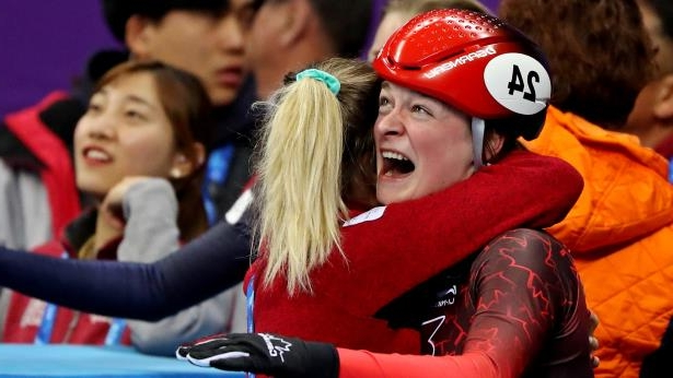 Feb 13, 2018; Pyeongchang, South Korea; Kim Boutin (CAN) celebrates winning bronze in the women's short track speed skating 500m finals during the Pyeongchang 2018 Olympic Winter Games at Gangneung Ice Arena.