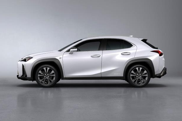 Slide 17 of 56: 2019-Lexus-UX-250h-side-02.jpg