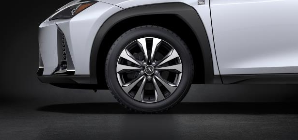 Slide 26 of 56: 2019-Lexus-UX-250h-front-wheel.jpg