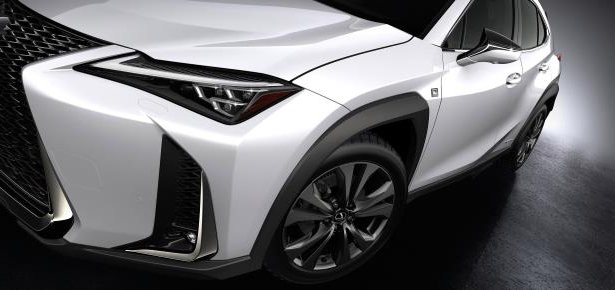 Slide 32 of 56: 2019-Lexus-UX-250h-front-side.jpg
