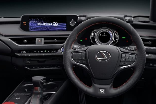 Slide 35 of 56: 2019-Lexus-UX-200-steering-wheel-and-center-stack.jpg