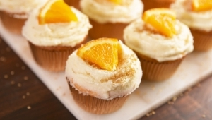 a piece of cake on a plate: Mimosa Cupcakes = Your Excuse To Pop Another Bottle Of Bubbly