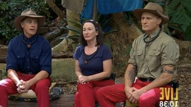Danny Green, Fiona O'Loughlin and Shannon Noll await the results of I'm A Celebrity Australia grand finale poll.