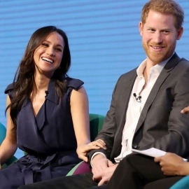 Prince Harry et al. sitting posing for the camera: At the Royal Foundation Forum, loved-up Prince Harry and Meghan Markle couldn't keep their hands off each other.