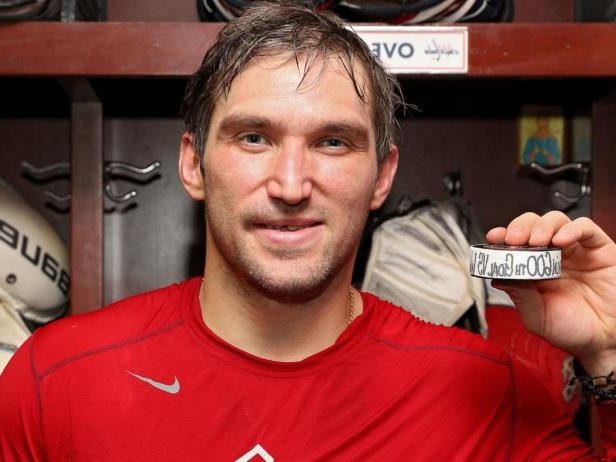 Alex Ovechkin in a red shirt