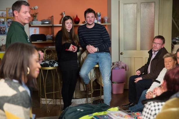 EMBARGO 13/03/2018 Martin and Stacey Fowler gather everyone together to discuss fundraising ideas in EastEnders: Your full collection of spoiler pictures revealing what's ahead in Walford in the week commencing Monday, March 19.