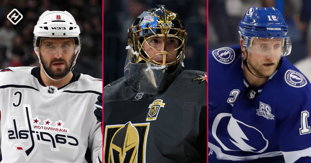 a man wearing a helmet: Steven Stamkos, Marc-Andre Fleury and Alex Ovechkin