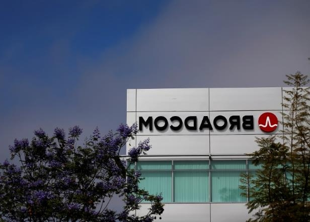 a sign above a store: Broadcom Limited company logo is pictured on an office building in Rancho Bernardo, California