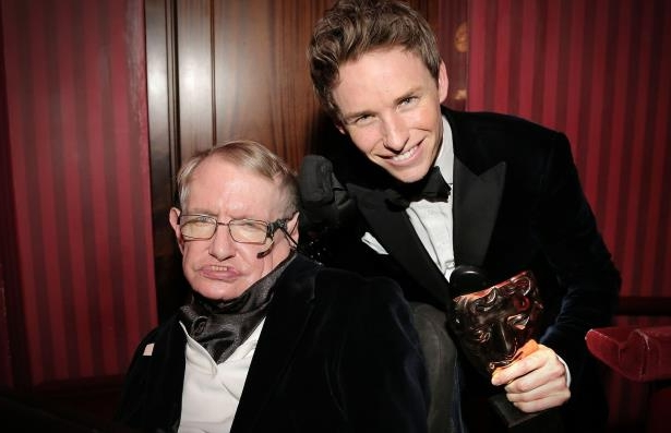 Eddie Redmayne, Leading Actor winner for The Theory of Everything, with Stephen Hawking at the BAFTAs in 2015.