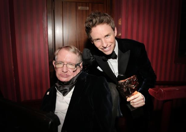 Slide 20 of 24: EE BAFTA British Academy Film Awards, Royal Opera House, London, Britain - 08 Feb 2015 Eddie Redmayne, Leading Actor winner for The Theory of Everything, with Stephen Hawking