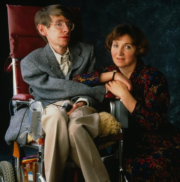 "Stephen Hawking et al. sitting on a bench: Dr. Hawking and his first wife, the former Jane Wilde, in 1990. The couple married in 1965. He said the marriage gave him ""something to live for."""