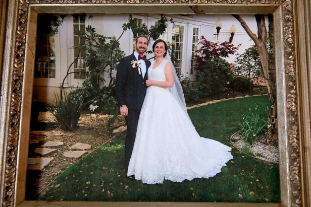 T.J. Shushereba, and his wife Jennifer Gonzales on their wedding day on March 18, 2017, displayed at their home in Napa, Ca. on Tues. March 13, 2018, who was was killed by a gunman inside the Yountville Pathways home last Friday where she worked as a psychologist.