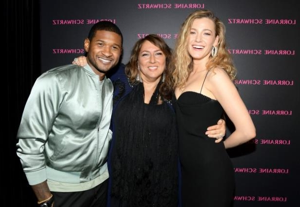 USHER and woman posing for a picture: Blake Lively, Lorraine Schwartz and Usher