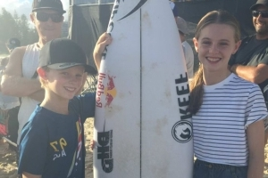 Young fan left 'stoked' and 'speechless' by gift from surfing legend Mick Fanning