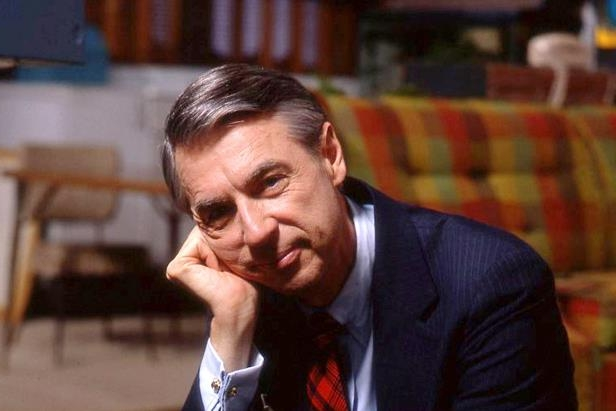 Fred Rogers on the set of his show *Mr. Rogers Neighborhood*.