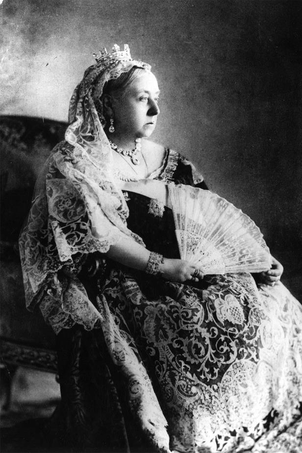 Queen Victoria, in her wedding veil, poses for a portrait to celebrate her Diamond Jubilee in 1897.