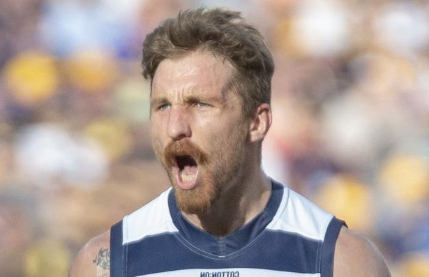 Geelong's Zach Tuohy was injured at Perth's Optus Stadium on Sunday.