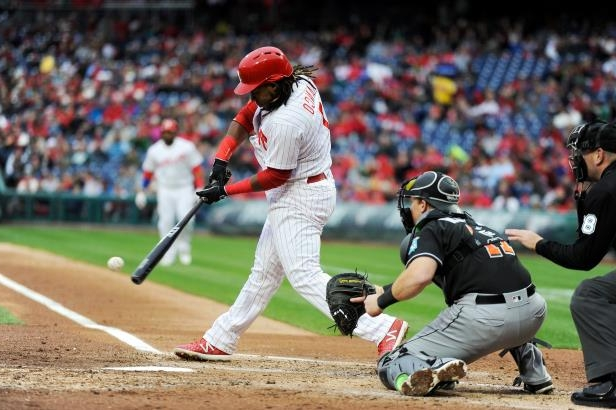 Slide 27 of 77: Maikel Franco (7) hits a grand slam in the first inning of the team's baseball game against the Miami Marlins, Saturday, April 7, 2018, in Philadelphia. (AP Photo/Michael Perez)