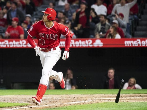 Slide 46 of 77: Los Angeles Angels designated hitter Shohei Ohtani watches his solo home run during the second inning of the team's baseball game against the Oakland Athletics on Friday, April 6, 2018, in Anaheim, Calif. (AP Photo/Kyusung Gong)