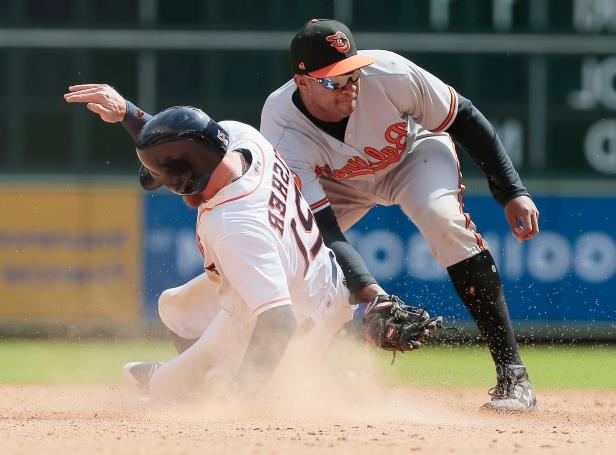 Slide 67 of 77: HOUSTON, TX - APRIL 04:  Derek Fisher #21 of the Houston Astros steals second base as Jonathan Schoop #6 of the Baltimore Orioles is unable to field the ball in the seventh inning at Minute Maid Park on April 4, 2018 in Houston, Texas.  (Photo by Bob Levey/Getty Images)