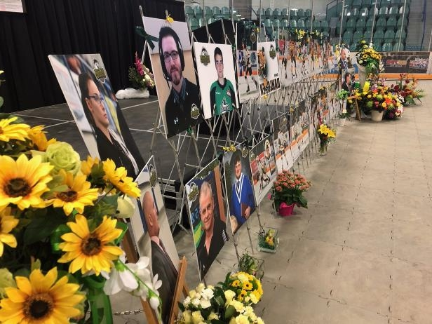 Tribute for the Humboldt Broncos after the vigil