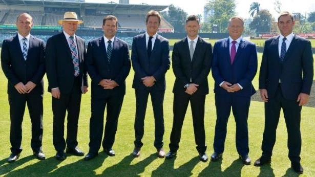 End of an era?: Nine's cricket commentary team at the WACA last year: (from left) Shane Warne, Ian Healy, Michael Clarke, Mark Nicholas, Mark Taylor, Ian Chappell, Michael Slater.