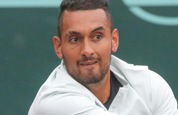 Nick Kyrgios in action in Houston.