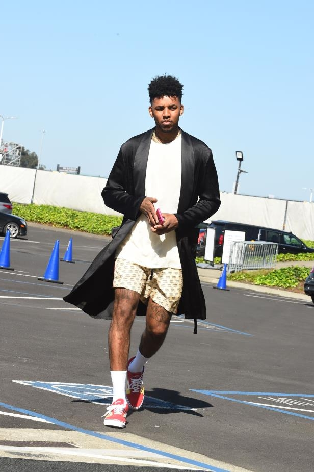 Nick Young of the Golden State Warriors arrives before the game against the San Antonio Spurs in Game One of Round One of the 2018 NBA Playoffs on April 14, 2018 at ORACLE Arena in Oakland, Calif.