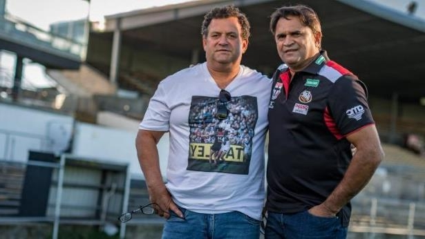 25 years on: Nicky Winmar and the photographer that took the iconic photo, Wayne Ludbey.