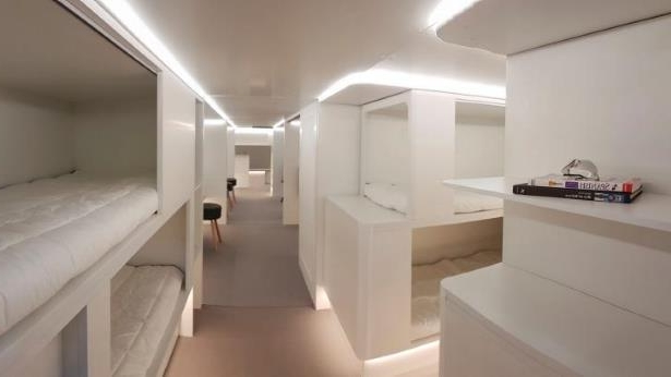 An artist's impression of sleeping compartments being planned for the cargo holds of passenger aircraft.