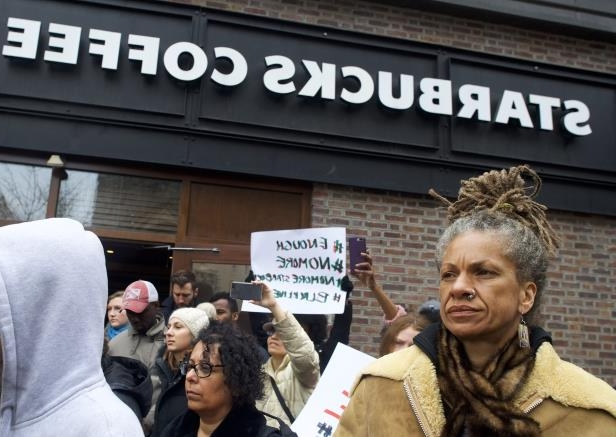 Image: Protesters demonstrate outside a Center City Starbucks in PhiladelphiaProtesters demonstrate outside a Center City Starbucks on April 15, 2018 in Philadelphia.