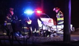A man was struck by an RCMP vehicle in Moncton on Sunday night.