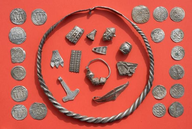 Medieval jewellery and coins found near Schaprode on the northern German island of Ruegen in the Baltic Sea (dpa/AP)