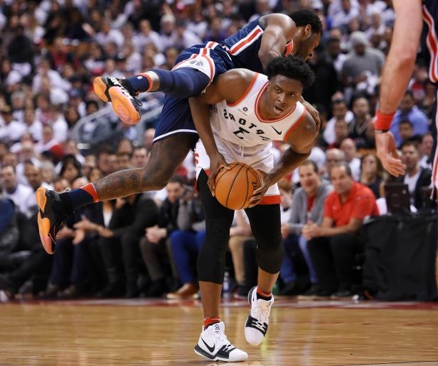 Slide 15 of 16: Apr 14, 2018; Toronto, Ontario, CAN;   Toronto Raptors forward OG Anunoby (3) looks to make a pass away from Washington Wizards guard John Wall (2) in game one of the first round of the 2018 NBA Playoffs at Air Canada Centre. Mandatory Credit: Dan Hamilton-USA TODAY Sports - 10786234