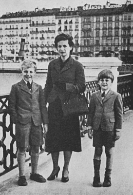 a group of people posing for a photo: Melinda Maclean and her sons in their last European home in Geneva 1953 - she was slight with curly, dark hair, 'an under-educated, attractive woman who was both affectionate and popular'