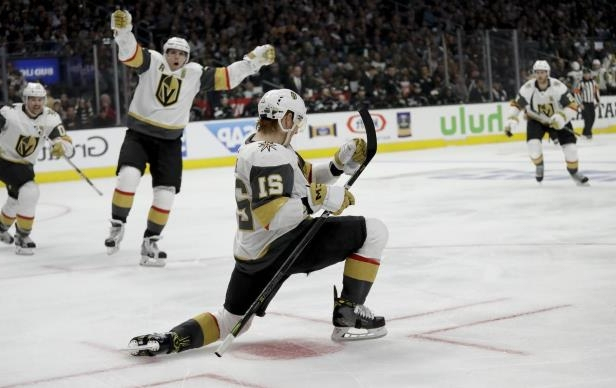 Golden Knights centre Cody Eakin (21) celebrates his third-period goal against the L.A. Kings Sunday. The Golden Knights are a game away from sweeping the Kings.