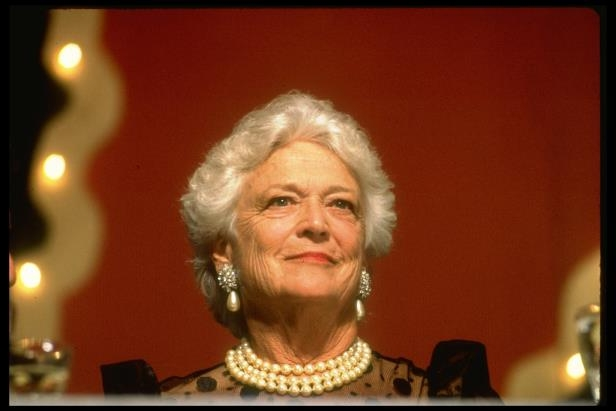 Barbara Bush smiling for the camera