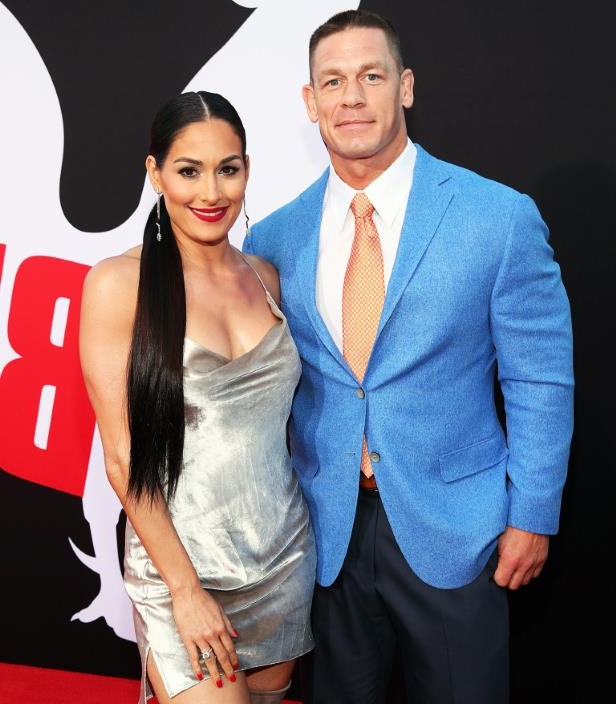 "John Cena and Nikki Bella attend the premiere of Universal Pictures' ""Blockers"" at Regency Village Theatre on April 3, 2018 in Westwood, California."