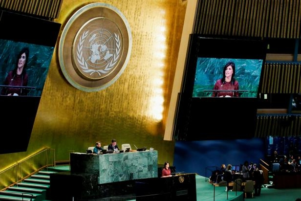 United States Ambassador to the United Nations, Nikki Haley, addresses the General Assembly.