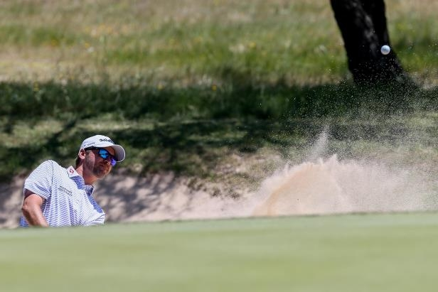 Sean O'Hair hits out of a bunker on the eleventh hole during the final round of the Texas Open at TPC San Antonio on Sunday, April 22, 2018. O'Hair shot a six-under 66 on the final day to tie for second with Trey Mullinax in the tournament. MARVIN PFEIFFER/mpfeiffer@express-news.net
