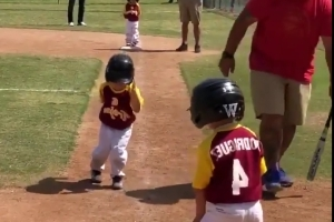 Little Leaguer walking to home plate as slow as humanly possible will either warm your heart or make your blood boil