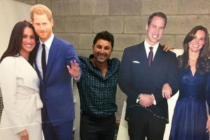 'Hanging out with my fellow royals': Married At First Sight's Nasser Sultan poses with Meghan Markle and Prince Harry cardboard cutouts on New Zealand getaway